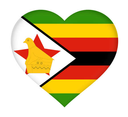 heart shaped: Illustration of the flag of Zimbabwe shaped like a heart. Stock Photo