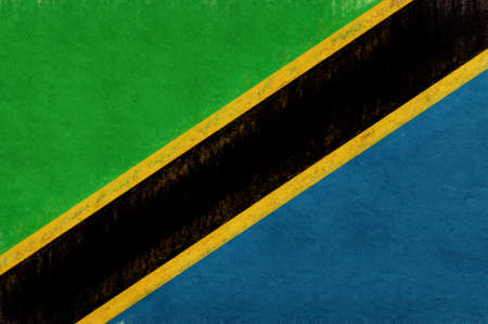 Illustration of the national flag of Tanzania with a grunge look.