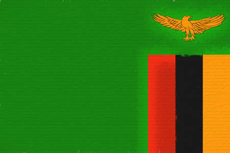 Illustration of the national flag of Zambia looking like it is painted on a wall.