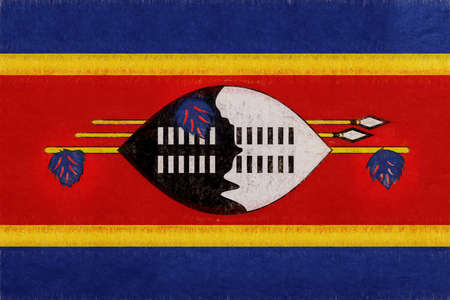 Illustration of the national flag of Swaziland with a grunge look.