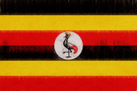 sovereignty: Illustration of the national flag of Uganda with a grunge look.