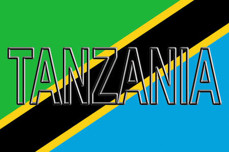 Illustration of the national flag of Tanzania with the country written on the flag. 版權商用圖片