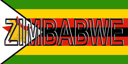 Illustration of the national flag of Zimbabwe with the country written on the flag.