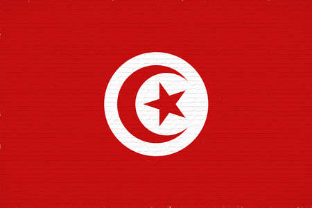 Illustration of the national flag of Tunisia with a grunge look.