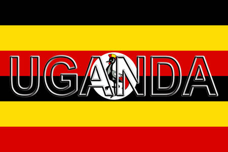 Illustration of the national flag of Uganda with the country written on the flag.