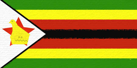 Illustration of the national flag of Zimbabwe looking like it is painted on a wall. Stock Photo