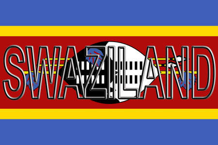 Illustration of the national flag of Swaziland with the country written on the flag.