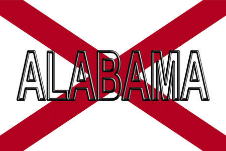 Illustration of the flag of Alabama state in America with the state written on the flag
