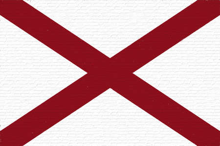 Illustration of the flag of Alabama state in America looking like it is painted on a wall.