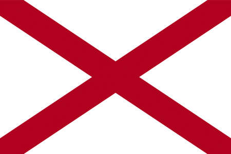 Illustration of the flag of Alabama state in America