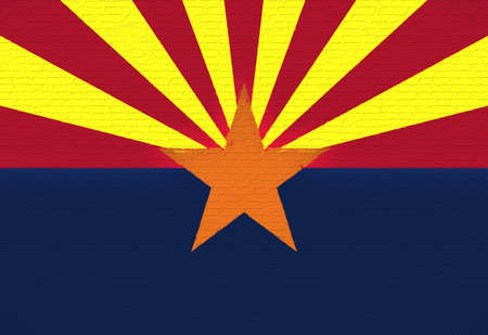 Illustration of the flag of Arizona state in America looking like it is painted on a wall.