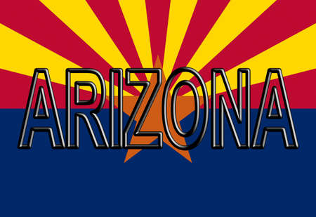 Illustration of the flag of Arizona  state in America with the state written on the flag.