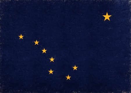 Illustration of the flag of Alaska state in America with a grunge look.