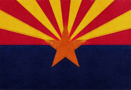 Illustration of the flag of Arizona state in America with a grunge look. Stock Photo