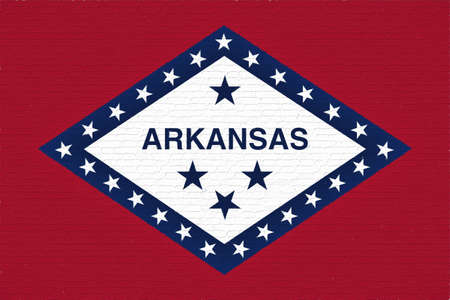 Illustration of the flag of Arkansas state in America looking like it is painted onto a wall.