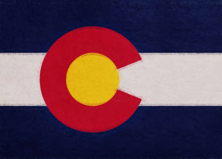 Illustration of the flag of Colorado state in America with a grunge look