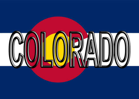 Illustration of the flag of Colorado state in America with the state written on the flag
