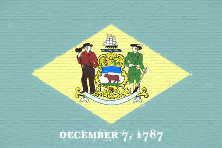 Illustration of the flag of Delaware state in America looking like it is painted on a wall.