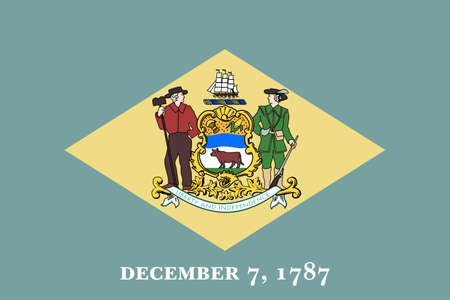 Illustration of the flag of Delaware state in America