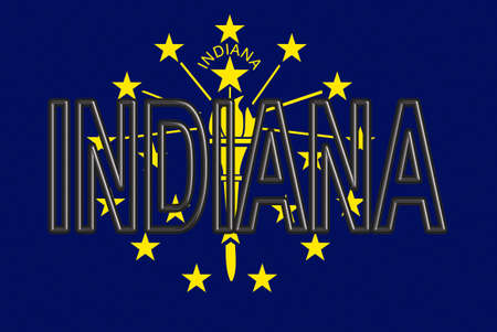 Illustration of the flag of Indiana state in America with the state written on the flag.