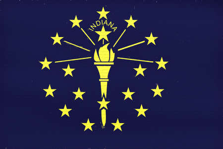 Illustration of the flag of Indiana state in America looking like it is painted on a wall.