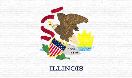 Illustration of the flag of Illinois state in America looking like it is painted on a wall.