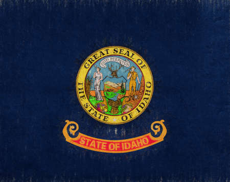Illustration of the flag of Idaho state in America with a grunge look.
