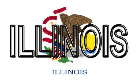 Illustration of the flag of Illinois state in America with the state written on the flag.