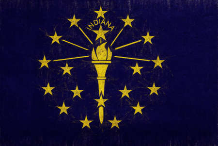 Illustration of the flag of Indiana state in America with a grunge look.
