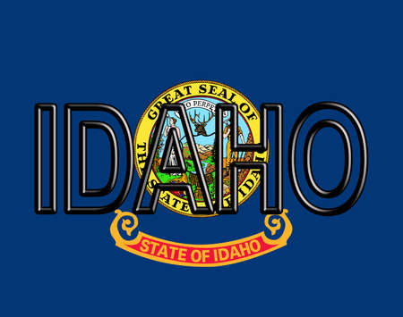 Illustration of the flag of Idaho state in America with the state written on the flag.