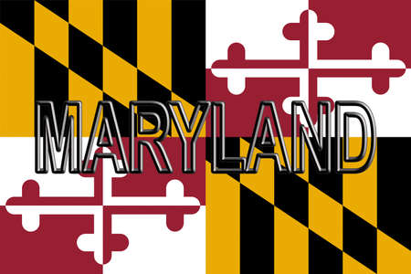 Illustration of the flag of Maryland state in America with the state written on the flag. Stock Photo