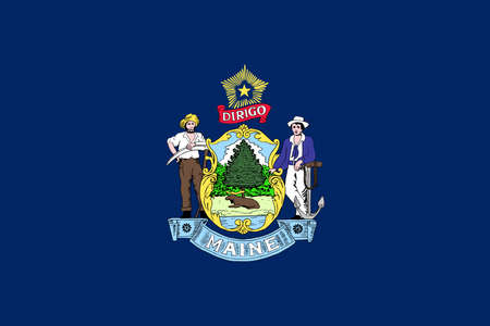 Illustration of the flag of Maine state in America Stock Photo