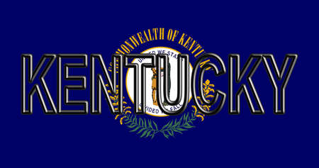 Illustration of the flag of Kentucky state in America with the state written on the flag.