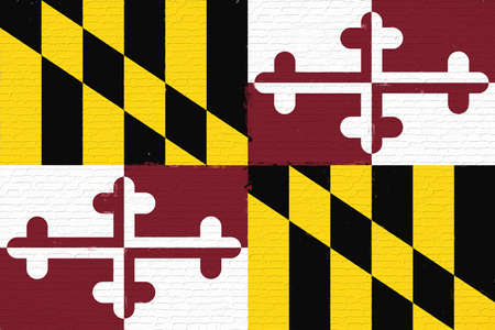 sovereignty: Illustration of the flag of Maryland state in America looking like it is painted on a wall. Stock Photo