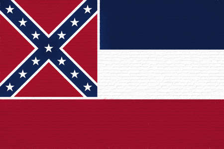 sovereignty: Illustration of the flag of Mississippi state in America looking like it is painted on a wall.