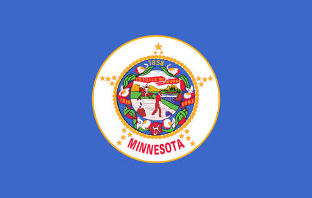 Illustration of the flag of Minnesota state in America