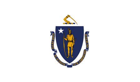 アメリカのマサチューセッツ州の旗のイラスト