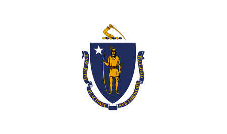 Illustration of the flag of Massachusetts state in America