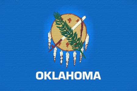 Illustration of the flag of Oklahomastate in America looking like it is painted on a wall. Stok Fotoğraf