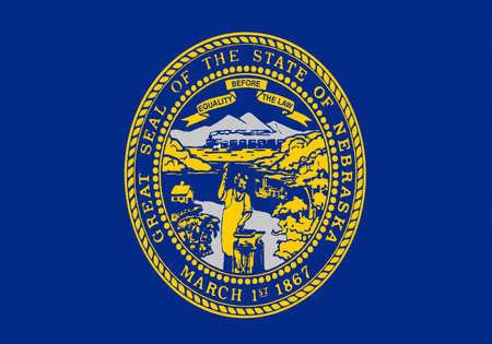 Illustration of the flag of Nebraska state in America Stock Photo
