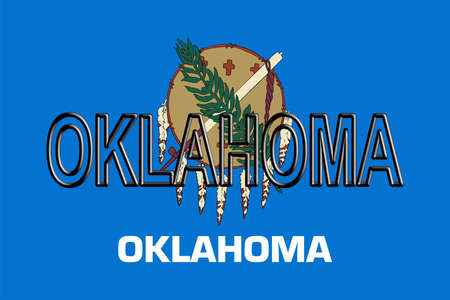 Illustration of the flag of Oklahomastate in America with the state written on the flag. Stok Fotoğraf