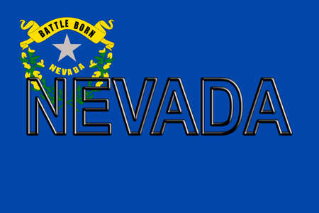 Illustration of the flag of Nevada state in America with the state written on the flag.