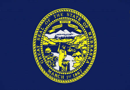 Illustration of the flag of Nebraska state in America looking like it is painted on a wall.