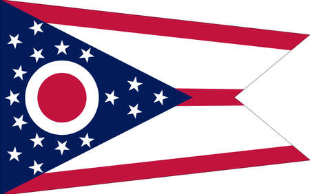 Illustration of the flag of Ohio state in America with the state written on the flag.