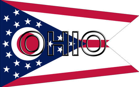 Illustration of the flag of Ohio state in America