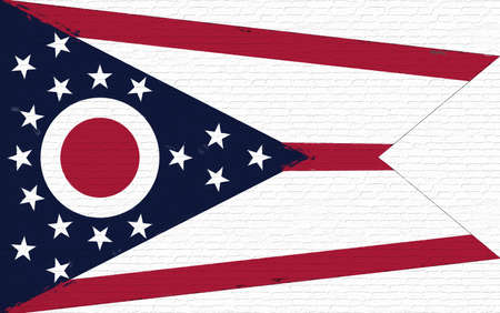 Illustration of the flag of Ohio state in America looking like it is painted on a wall.
