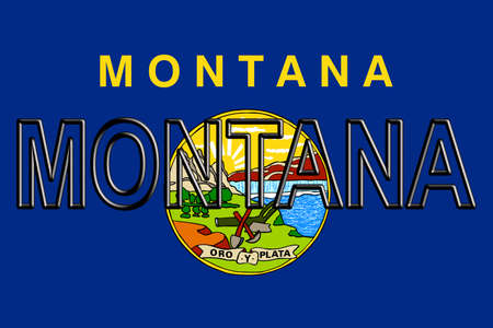 Illustration of the flag of Montana state in America with the state written on the flag. Stok Fotoğraf