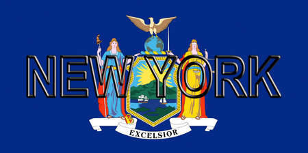 Illustration of the flag of New York state in America with the state written on the flag. Stok Fotoğraf - 80007633