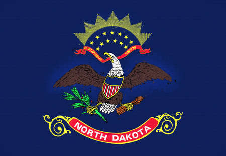 Illustration of the flag of North Dakota state in America looking like it is painted on a wall.