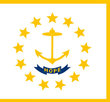 Illustration of the flag of Rhode Island state in America